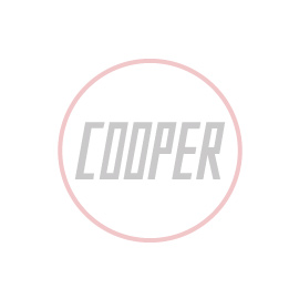 British racing green and white umbrella adorned with Cooper logo
