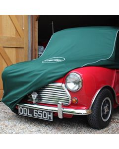 Mini car cover with Cooper Car Company logo