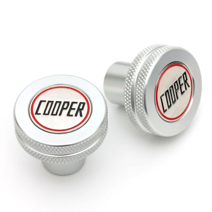 Classic Mini Cooper Knurled & Badged Seat Tilt Knobs - Silver